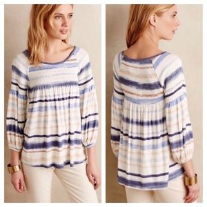 Anthropologie Meadow Rue Striped Smocked Top